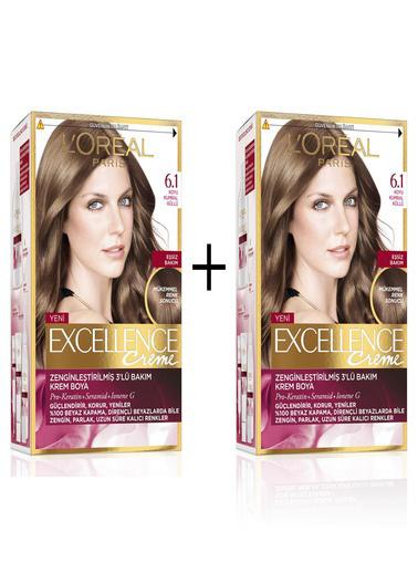 L'Oréal Paris L'Oréal Paris Excellence Creme Saç Boyası 6.1 Koyu Kumral Küllü X 2 Renksiz